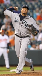 Felix Hernandez made his leading 11th opening day start. Photo Keith Allison via flickr/CCL