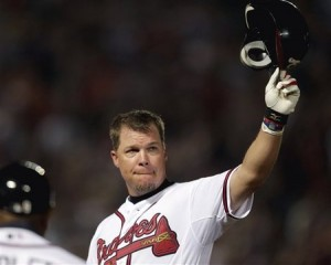 Chipper Jones at his retirement game.  Photo via lostthatsportsblog