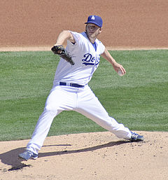 Kershaw's new $30M/year contract will be tough to live up to.  Photo via wiki.