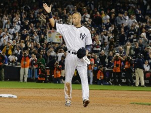 Jeter waves to the fans in his last home game. AP photo via abcnews.com