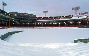 Baseball fields aren't supposed to be covered in snow.  Photo via twitter