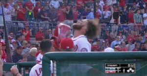 Harper's homer and subsequent hair flip was the highlight of the Nats opening day: photo via natsenquirer.com