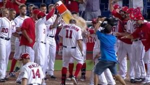 Zimmerman gets soaked on his 10th career walkoff.  Photo via mlb.com