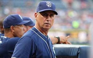 Jun 8, 2015; Atlanta, GA, USA; San Diego Padres manager Bud Black (20) watches a game against the Atlanta Braves in the second inning at Turner Field. Mandatory Credit: Brett Davis-USA TODAY Sports