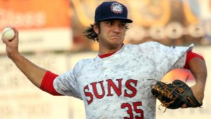Austen Williams went 8-1 for the Suns in the first half. Photo milb.com
