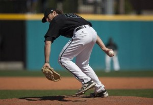 Andrew Beckwith's side-winding action leads Coastal Carolina into the CWS final. Picture via myrtlebeachonline.com