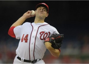 WASHINGTON DC, JUNE 28: Washington starting pitcher Lucas Giolito (44) makes his major league debut as the Washington Nationals play the New York Mets at Nationals Park in Washington DC, June 28, 2016. (Photo by John McDonnell / The Washington Post)