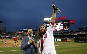 Jayson Werth, right, gave MASN's Dan Kolko a joyous earful. (Alex Brandon/AP)